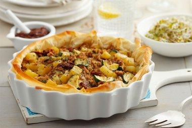 Beef, zucchini, potato filo pie
